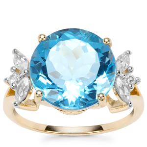 Swiss Blue Topaz Ring with White Zircon in 9K Gold 8.85cts