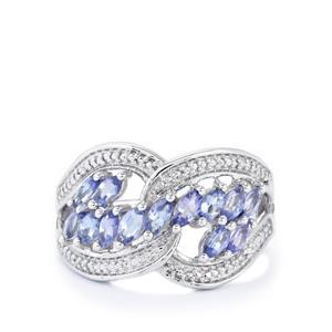 AA Tanzanite & Diamond Sterling Silver Ring ATGW 1.14cts