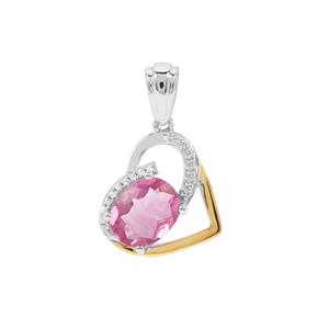 Pink Fluorite Pendant with White Zircon in Two Tone Gold Flash Sterling Silver 3.26cts