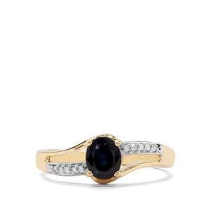 Australian Blue Sapphire & Diamond 9K Gold Ring ATGW 0.80ct