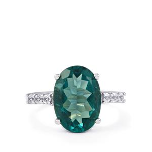 Tucson Green Fluorite Ring with White Topaz in Sterling Silver 7.10cts