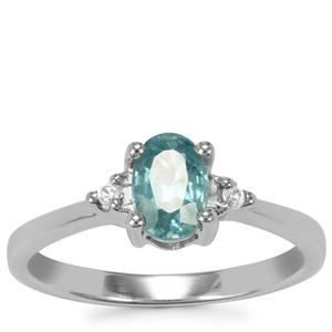 Ratanakiri Blue Zircon Ring with White Zircon in Sterling Silver 1.12cts