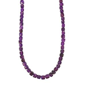 102ct Zambian Amethyst Sterling Silver Graduated Bead Necklace