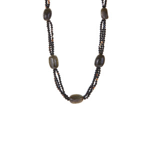 215.40cts Labradorite & Black Agate Sterling Silver Necklace
