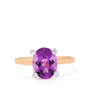 Zambian Amethyst Ring with Diamond in 10k Rose Gold 2.45cts