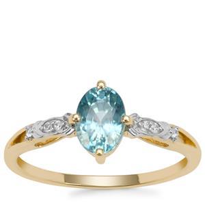 Ratanakiri Blue Zircon Ring with White Zircon in 9K Gold 1.38cts