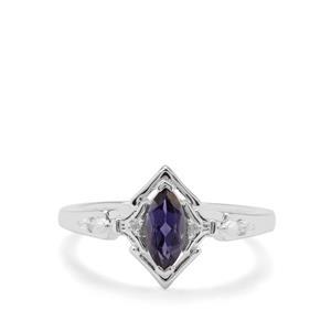 Ajmer Iolite & White Zircon Sterling Silver Ring ATGW 0.51ct