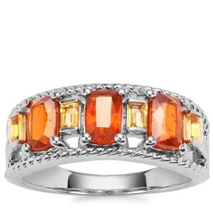 Loliondo Orange Kyanite Ring with Diamantina Citrine in Platinum Plated Sterling Silver 2.48cts