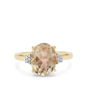 Watermelon Oregon Sunstone Ring with White Zircon in 9K Gold 3.18cts