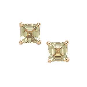 Asscher Cut Csarite® Earrings in 10k Gold 1.51cts