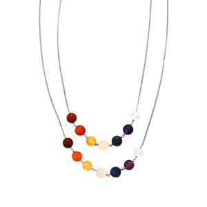 Sterling Silver Gemstone Chakra Glasses Holder Chain ATGW 52.16ct