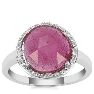 Malagasy Ruby Ring with White Zircon in Sterling Silver 3.65cts (F)