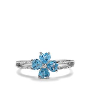 1.12ct Swiss Blue Topaz Sterling Silver Ring