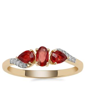 Songea Ruby Ring with Diamond in 9K Gold 0.86ct