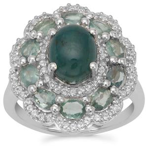 Grandidierite, Alexandrite Ring with White Zircon in Sterling Silver 3.90cts