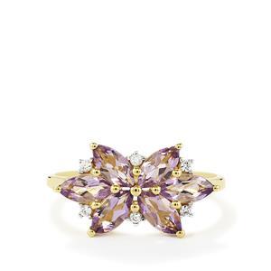 Purple Scapolite & White Zircon 9K Gold Ring ATGW 1.24cts