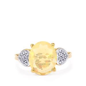 Ethiopian Opal & White Zircon 9K Gold Ring ATGW 2.20cts