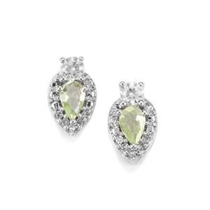 Merelani Mint Garnet, White Zircon & Diamond 9K White Gold Earrings ATGW 0.81cts