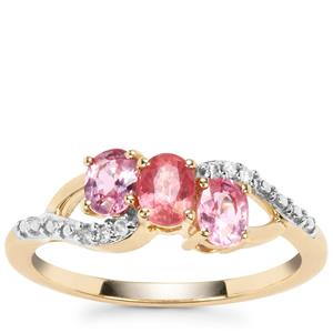 Padparadscha Sapphire Ring with Diamond in 9K Gold 1.11cts