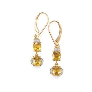 Ambilobe Sphene & Diamond 18K Gold Tomas Rae Earrings MTGW 3.27cts