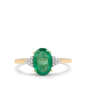 Zambian Emerald Ring with Diamond in 14K Gold 1.59cts