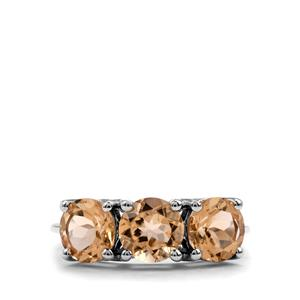 3.32ct Bolivian Natural Champagne Quartz Sterling Silver Ring