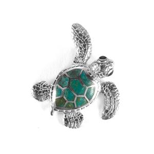 Chrysocolla Turtle Pendant in Sterling Silver 2cts