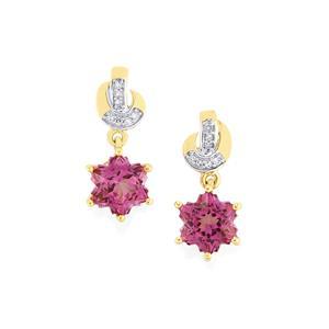 Minas Gerais Topaz & Diamond 10K Gold Wobito Snowflake Earrings ATGW 3.11cts