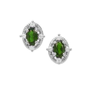 Chrome Diopside & White Zircon Sterling Silver Earrings ATGW 0.90ct