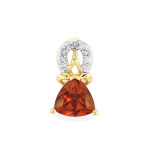 Zanzibar Sunburst Zircon Pendant with Diamond in 9K Gold 1.21cts