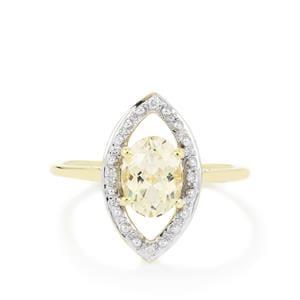 Goshenite & Diamond 9K Gold Ring ATGW 1.12cts