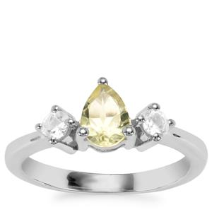 Chartreuse Sanidine Ring with White Topaz in Sterling Silver 0.88cts