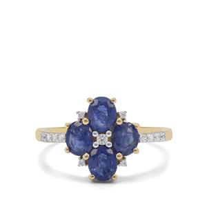 Burmese Blue Sapphire & White Zircon 9K Gold Ring ATGW 2cts