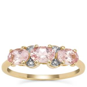 Cherry Blossom™ Morganite™ Ring with Diamond in 9K Gold 1.28cts