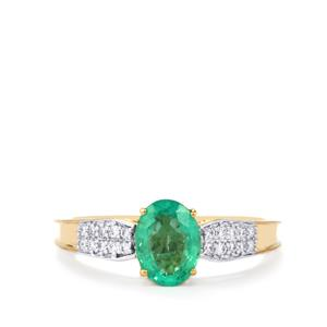 Ethiopian Emerald Ring with Diamond in 18K Gold 1.13cts