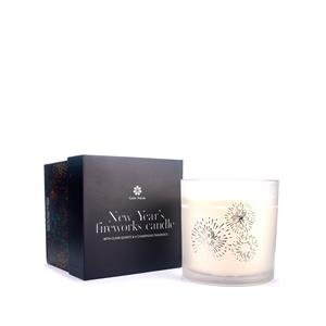 Gem Auras Champagne Fragrance New Year Celebration Extra Large 4 wick Candle with Clear Quartz ATGW 90cts
