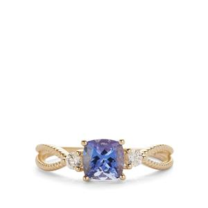 AAA Tanzanite Ring with White Zircon in 9K Gold 1.25cts
