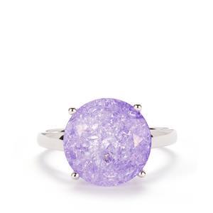 6ct Purple Crackled Quartz Sterling Silver Ring