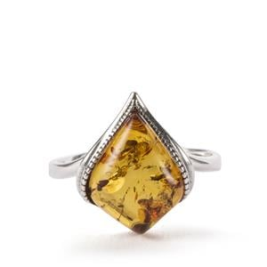 Baltic Cognac Amber Ring in Sterling Silver (14 x 10mm)