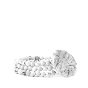 246ct White Howlite Elastic Flower Bracelet