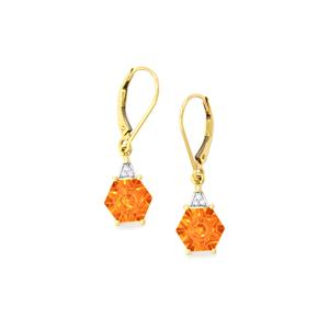 Lehrer QuasarCut Padparadscha Quartz Earrings with Diamond in 10k Gold 3.38cts