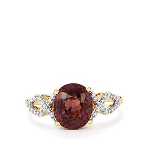 Color Change Garnet Ring with Diamond in 18k Gold 4.37cts