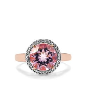 Rose De France Amethyst Ring in Rose Gold Plated Sterling Silver 3.20cts