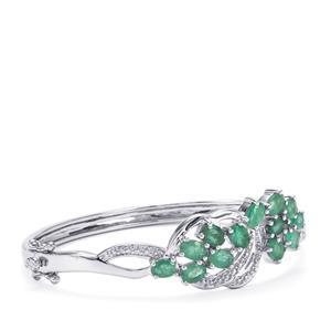 Zambian Emerald & Diamond Sterling Silver Oval Bangle ATGW 5.22cts