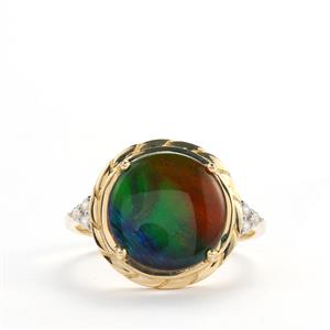 AA Ammolite Ring with White Zircon in 9K Gold (12mm x 12mm)