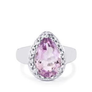 Rose De France Amethyst & White Topaz Sterling Silver Ring ATGW 4.62cts