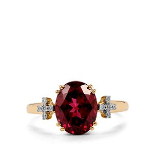 Mahenge Garnet Ring with Diamond in 18K Gold 3.37cts