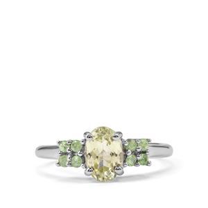 Sillimanite & Tsavorite Garnet Sterling Silver Ring ATGW 1.41cts