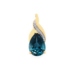 Marambaia London Blue Topaz Pendant with Diamond in 10K Gold 6cts