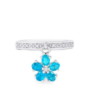 Neon Apatite Ring with White Zircon in Sterling Silver 0.89cts